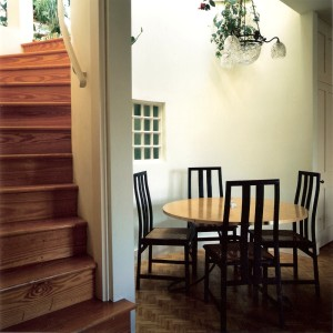 dining table and stair